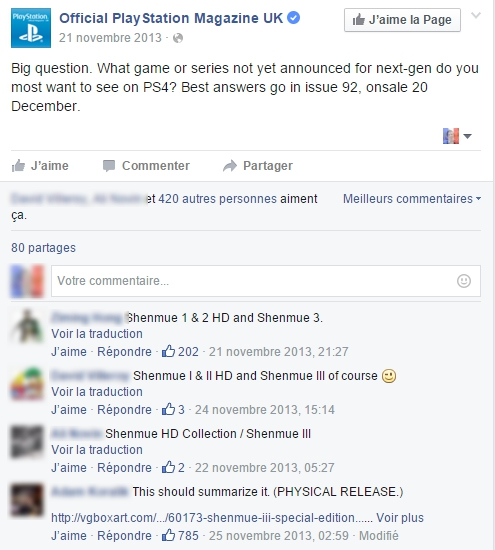 Sondage Facebook Shenmue